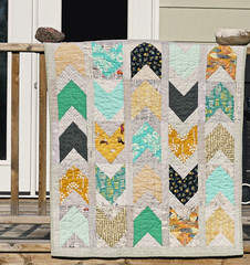 Pow Wow Quilt (BlueElephantStitches) Tags: yellow modern grey aqua quilt chevron powwow scrappy