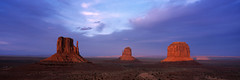 panoramic view of Monument valley at sunset, Utah, USA (SalvadoriArte) Tags: sunset usa utah butte northamerica monumentvalley mittens navajotribalpark merrickbutte