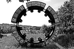Wheel of Drams (technodean2000) Tags: wheel artwork maes y viaduct coal carts cymmer hengoed drams