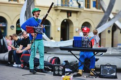 The Mario Bros Perform (Derek Hall) Tags: city streets outdoors 50mm nikon streetphotography strawberries streetscene belfast sheets videogames northernireland streetcorner newcamera streetscenes peoplewatching ulster streetmusicians mariobrothers thelivesofothers livesofothers d5200