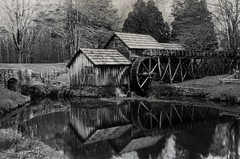 Mabry Mill (Christopher Wallace) Tags: mabrymill blueridgeparkway blueridgemountains parkway appalachia appalachianmountains mill old building structure sawmill gristmill multipurpose blackandwhite bw black white meadowsofdan southwestvirginia virginia southwest newrivervalley newriver reflection pond water nikon nikond7000 digital d7000 18200mm 18200mmvr 18200 bwnd110 nd110 neutraldensity 110 thirtyseconds timelapse longexposure trees forest mountains skeltalmess shadowhousecreations texture outdoor