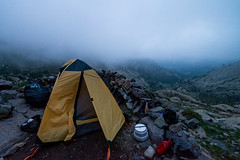 Day 3: Our tent at the Tighjettu shelter (1683m) (Damien [Phototrend.fr]) Tags: sunset mountain france fog trekking trek hiking corse gr20 corsica tent september shelter asco randonne granderandonne 2013 tighjettu