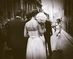 Camera Shy - [explore ] (McLovin 2.0) Tags: wedding urban monochrome back candid streetphotography melbourne explore bridesmaid streetphoto bouquet hosierlane streetfashion explored peoplegirls sonyrx1