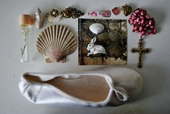 assemblage (pink) (paperswallow) Tags: pink stilllife white childhood seashells vintage interiors objects pale nostalgia rosary trinkets