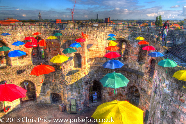 Umbrellas at Clifford's Tower