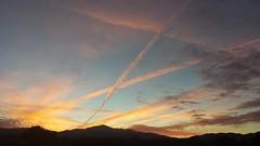 A Pilot's Sunset (Nina Marie's Photography) Tags: blue sunset sky orange silhouette plane outside outdoors flying skies streak outdoor dusk planes rockymountains outline streaks pilot pikespeak flickrandroidapp:filter=none