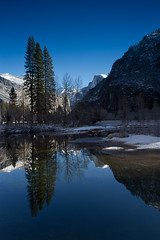 Three Trees (markvcr) Tags: california blue trees winter lake mountains reflection water river nevada clear yosemite halfdome sierras naturethroughthelens sunrays5