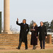 Monticello President Leslie Greene Bowman with President Obama and President Hollande on the West Lawn