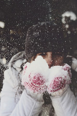 Me and my love-hate relationship with snow! (Gabriela Tulian) Tags: pink winter woman snow playing canada cold girl face hat nose eyes hands exterior coat blow jacket gloves snowfalling