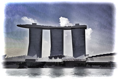 View of the towers of the Marina Bay Sands in Singapore from the water (Ashish A) Tags: trees sky cloud building tree tourism clouds buildings asian hotel singapore asia waterfront bluesky structure resort touristattraction cloudysky threetowers 3towers cloudsinsky marinabaysands marinabaysandsresort marinabaysandshotel sandsskypark towersofmarinabaysands viewofmarinabaysandsfromwater 3towersofmarinabaysands