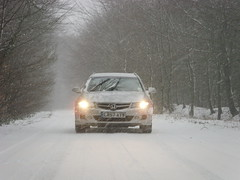 uk england white snow car honda accord lights estate seventh generation tourer lb57ayw