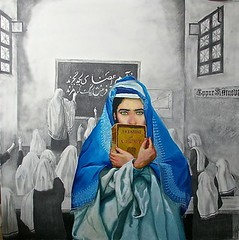 Aabi by RC Bailey (R.C. Bailey's Art) Tags: blue school light portrait woman afghanistan art girl painting women artist human rights afghan oil schoolgirls figurative burqa realism aabi politicalpainting rcbailey
