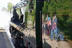 Steaming Off (McTumshie) Tags: england train canal unitedkingdom railway surrey steam locomotive guildford riverwey shalford 35028 merchantnavyclass clanline 1z82 belmondbritishpullman 3may2014