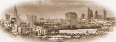 Old New London (ArtGordon1) Tags: uk england london thames sepia shard riverthames gherkin tower42 thegherkin davegordon heronbuilding davidgordon theshard artgordon1 daveartgordon daveagordon davidagordon