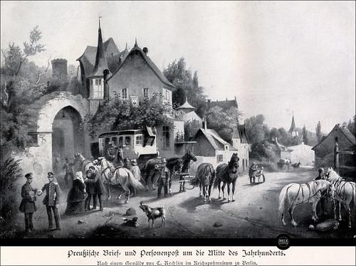 Preußische Brief- und Personenpost um die Mitte des 19. Jahrhunderts. Stagecoach in Prussia.