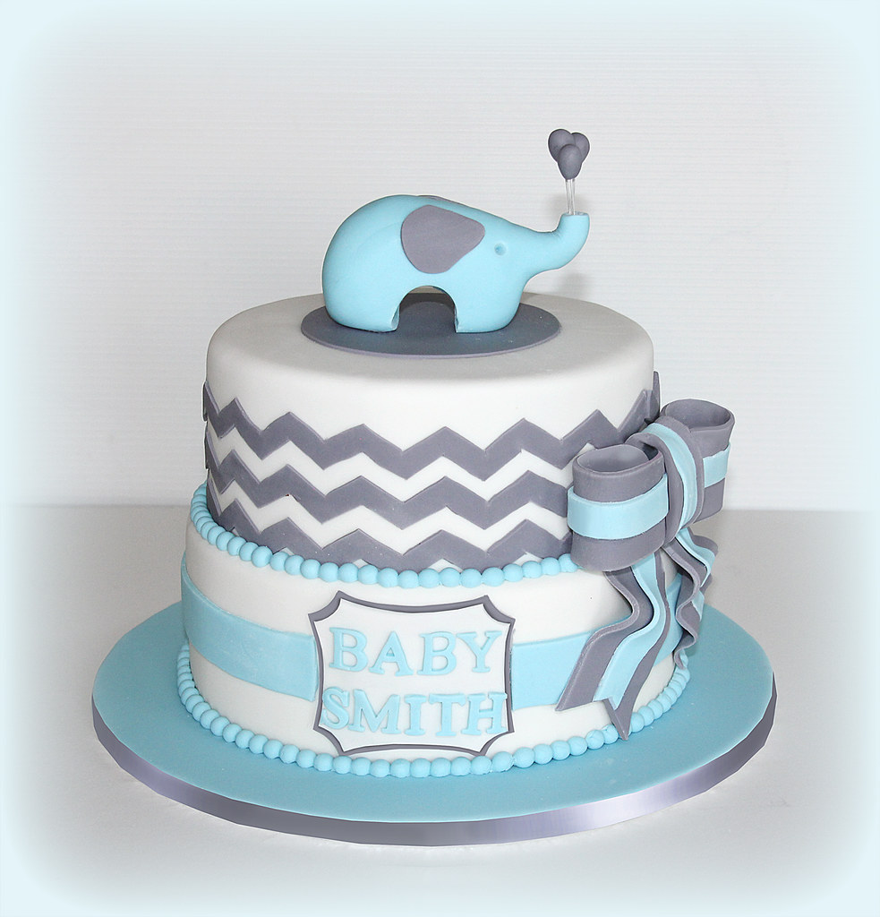 Lion Cake Teal White Gray