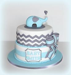 Elephant Baby Shower cake (Cute Sweet Thing) Tags: blue boy baby white elephant shower grey day christening chevron zigzag naming