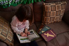 Looking at Minecraft Books (Vegan Butterfly) Tags: christmas holiday cute girl book kid vegan day child adorable books homeschool homeschooling minecraft