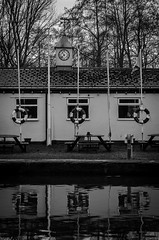Bridgewater Canal (Tony Hodgkinson Photography) Tags: bw white black clock water canal cheshire bridgewater runcorn refelection