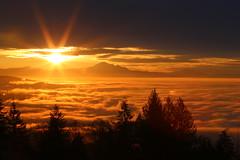 Cypress Sunrise (Mike_Wigg) Tags: canada fog vancouver sunrise britishcolumbia mtbaker goldenlight lowermainland cypressmountainviewpoint