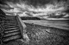 drama on the beach (FedeSK8) Tags: winter blackandwhite cloud beach sand mare steps surreal drama inverno procida fedesk8 federicoscotto nikond7000