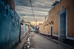 DSC_0883 (juor2) Tags: street blue sunset sky yellow wall evening alley nikon cuba scene trinidad d750 lonely streetsnap biphase