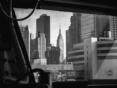Captain's view (wzdc07) Tags: nyc newyorkcity blackandwhite bw ny newyork building empirestate ussinterpid