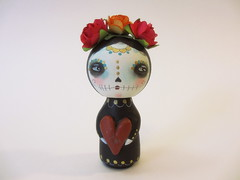 day of the dead custom kokeshi wood peg doll (amber leilani) Tags: kokeshi woodpegdoll