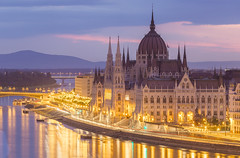 Hungarian Parliament and mountains in background (Stefan Sjogren) Tags: morning mountains architecture river early twilight hungary budapest parliament donau