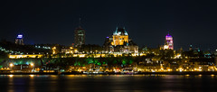 Qubec Skyline (Aymeric Gouin) Tags: voyage city longexposure travel light canada reflection castle water price skyline architecture night dark eau cityscape lumire olympus reflet sombre qubec northamerica chateau nuit saintlaurent ville omd frontenac saintlawrence em10 dificeprice aymgo aymericgouin