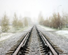 Snowfall and railroad (man_from_siberia) Tags: rails railway railroad snow spring may perspective bokeh russia россия сибирь siberia canon eos 1100d dslr canoneos1100d canon1100d canonrebelt3 canoneoskissx50 helios442 гелиос442 helios442258 manualfocus manualfocuslens primelens m42 m42lens