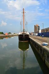Marienborgh (6) @ KGV Lock 08-06-16 (AJBC_1) Tags: gallionspoint northwoolwich newham londonboroughofnewham kgvlock kinggeorgevlock royaldocks londonsroyaldocks eastlondon docklands london england unitedkingdom uk ship boat vessel sailingship twomastschooner nikond3200 dlrblog ©ajc ajbc1