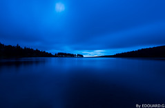 Blue Hour (Edouard.G photo) Tags: lac bleu blue heurebleue bluehour nikon d800 1635 couleur colour eau water matin moring arbres foret tree forest poselongue longueexposition longexposur manuel printemps easter ciel sky nuage cloud tripod trepied manfrotto gitzo patience ambiance calme peace quiet silence mditation