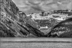 Lake Louise (FotoGrazio) Tags: trees sky blackandwhite mountain lake snow canada mountains art texture nature water beautiful clouds composition contrast landscape freshair photography photoshoot scenic glacier alberta banff rockymountains moment photographicart capture lakelouise naturalbeauty pinetrees digitalphotography freshwater cleanair mountainwater travelphotography icecoldwater sandiegophotographer artofphotography flickrelite californiaphotographer internationalphotographers worldphotographer photographersinsandiego fotograzio photographersincalifornia waynegrazio waynesgrazio