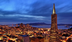 Transamerica Pyramid I (Rebecca Ang) Tags: sf sanfrancisco california city urban usa water skyline architecture night clouds twilight cityscape pyramid goldengatebridge bluehour transamericapyramid thebluehour sanfranciscoskyline rebeccaang transamericapyramidcenter
