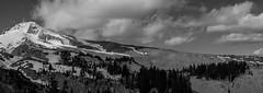 Mount Hood (greenschist) Tags: usa snow clouds oregon volcano blackwhite mthood 6x17