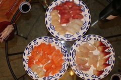 IMG_5703 scallop, salmon, toro, scampi, kingfish, hokkigai (drayy) Tags: dinner sushi homemade bluefin tuna toro    21052016 20160521
