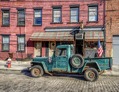 Sunny's Bar (Jeffrey Friedkin) Tags: nyc newyork building architecture brooklyn bar truck neon americanflag cobblestone oldtruck redhook newyorkphoto