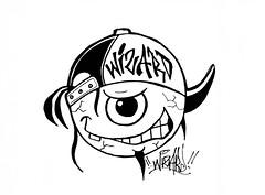 graffiti sticker one eye (marcomacedo3) Tags: cholowiz wizards graffiti characters stickers collabs slaps nazer26 mtsk skulls clowns street art paste trade cartoons labels sketch spray can
