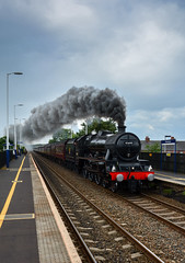 1Z80 45690 Leander Man Vic - Scarborough (Aaron Miller Photo) Tags: york train manchester tour smoke south sheffield yorkshire rail trains victoria steam scarborough railtour steamer steamengine barnsley rotherham doncaster leander lco carriages 45690 thurnscoe 1z80
