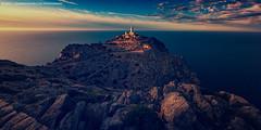 Top of the Rock (Allard Schager) Tags: sunset lighthouse seascape clouds landscape spain rocks panoramic cliffs espana vista cape mallorca epic topoftherock mediterraneansea spanje balearen balearicislands 2016 capformentor nikond810 nikkor1424mmf28 allardschager