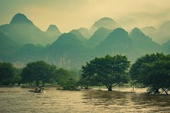 Flooded Li (simplediscoveries) Tags: china liriver clouds karst mountains river trees water