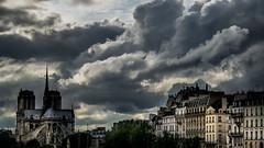 Clouds on Paris (Jean-Luc Peluchon) Tags: city light sky cloud paris france building architecture contrast lumix cathedral lumire dramatic panasonic cathdrale ciel nuage notredamedeparis ville dramatique imeuble fz1000