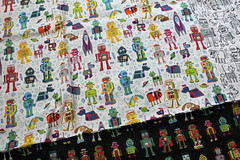 robots in space on grey (Cecca W) Tags: patterns spoonflower basiccottonultra swatch cotton fabric pattern design patterndesign surfacedesign illustration robots