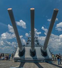 USS Alabama's 'Big Guns' (Pedro1742) Tags: cannons people sky clouds blue battleship three wood history ww2 metal
