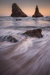 Pacific Sundown (michellelynn) Tags: ocean sunset sea oregon pacific spires bandon stacks