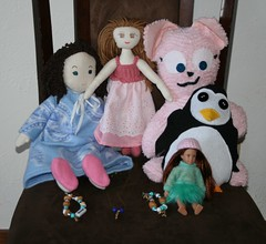 Crafting with the grandsweeties (Crazyquilter) Tags: cat penguin lily stuffedanimal target bubblegum softdoll aleah waddles clothdoll craftingwithkids loridoll