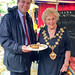 Greg Hands MP with Royal Borough Mayor Cllr Elizabeth Rutherford at the Commonwealth Fine Food and Drink Fair, Duke of York Square, Kings Road, Chelsea.