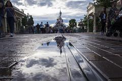 Castle Reflections (adamtuttle83) Tags: paris reflection castle puddle fuji disneyland xt1