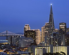 Blue Hour Beacon (RZ68) Tags: transamerica pyramid ina coolbrith park blue hour dawn twilight buildings downtown skyline san francisco california bay bridge morning no evening rz67 long exposure north beach financial district christmas holiday embarcadero lights